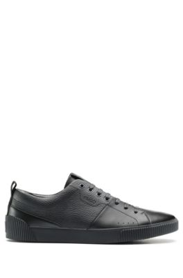 Tennis-style trainers in smooth and grainy leather, Black