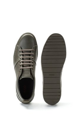 Tennis-style trainers in smooth and grainy leather, Dark Green