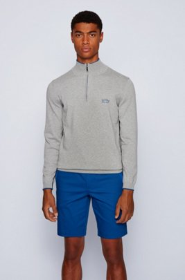Zip-neck sweater in organic cotton with contrast detailing, Light Grey