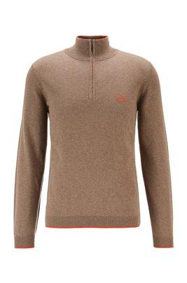 Pullover aus Bio-Baumwolle mit Reißverschluss am Kragen und Kontrast-Details, Braun