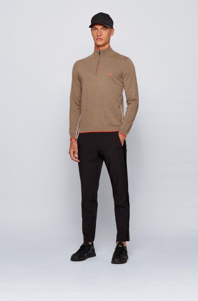 Pullover aus Bio-Baumwolle mit Reißverschluss am Kragen und Kontrast-Details