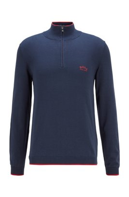 Zip-neck sweater in organic cotton with contrast detailing, Dark Blue