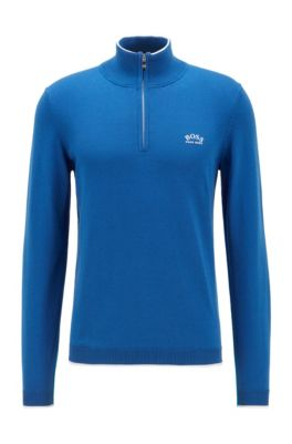 Pull en coton biologique, avec encolure zippée et détails contrastants, bleu clair