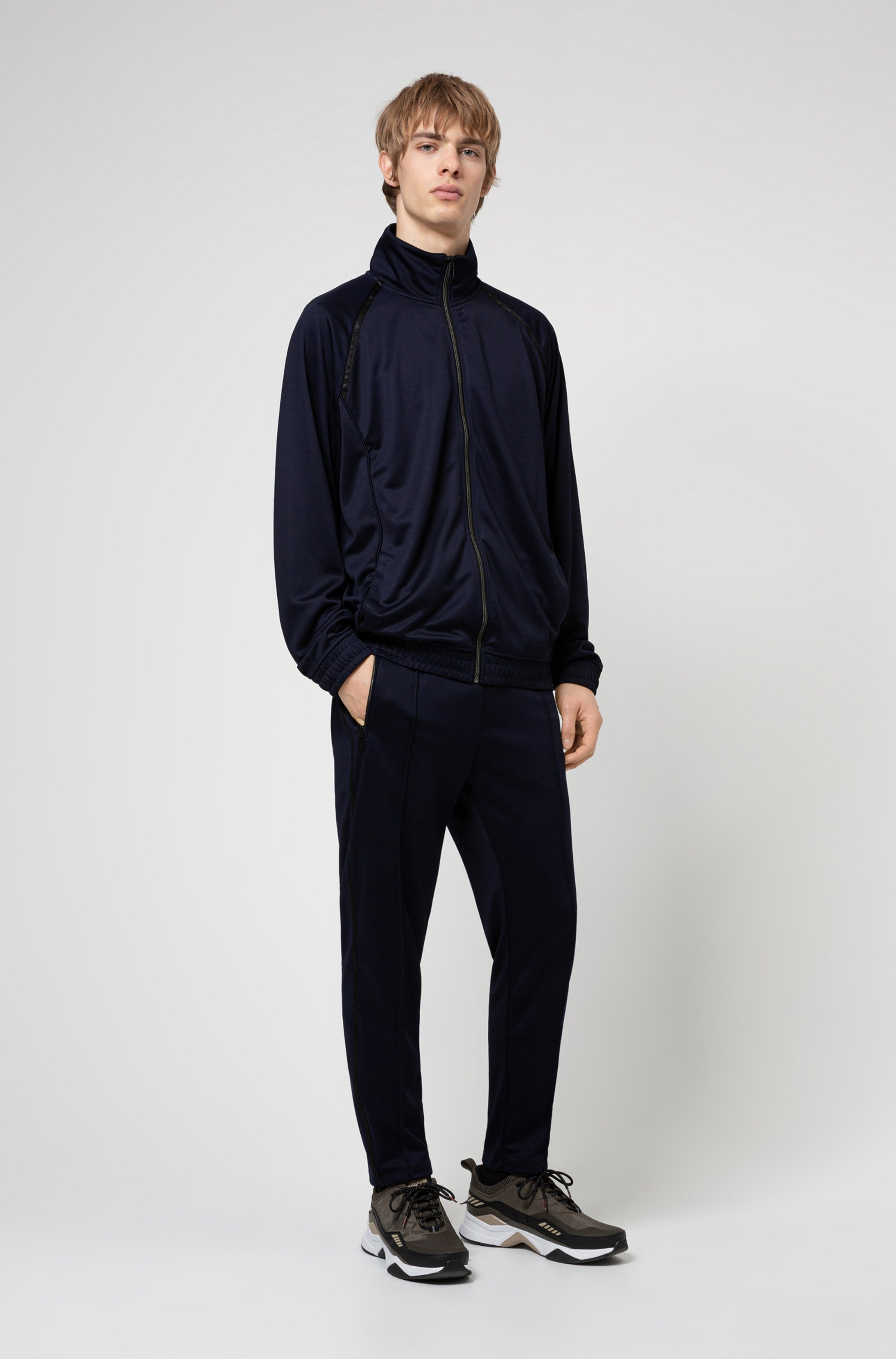Relaxed-fit zip-through sweatshirt with logo tape details