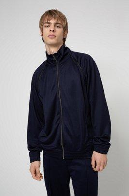 Relaxed-fit zip-through sweatshirt with logo tape details, Dark Blue