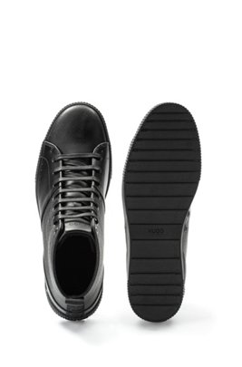 High-top trainers in smooth and grainy leather, Black
