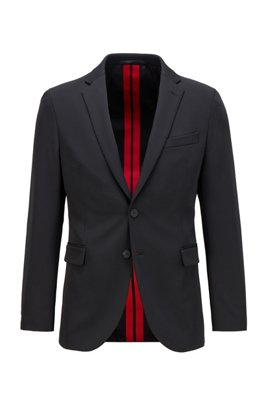 Slim-fit jacket in patterned stretch fabric, Black