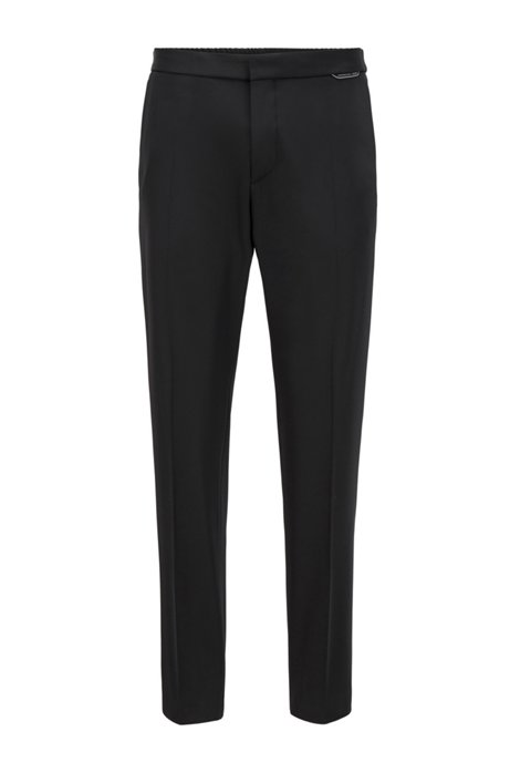 Slim-fit trousers in stretch fabric with drawstring waist, Black