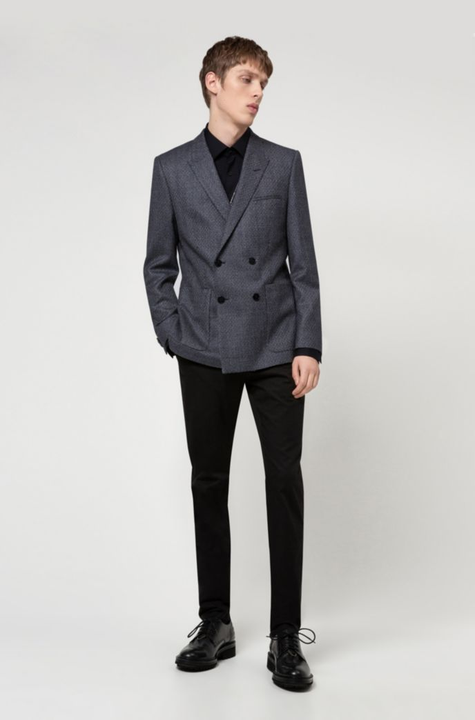 Extra-slim-fit virgin-wool jacket with patch pockets