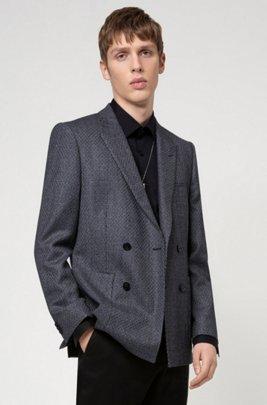 Extra-slim-fit virgin-wool jacket with patch pockets, Dark Grey