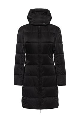 Baffle-quilted hooded jacket in water-repellent recycled fabric, Black