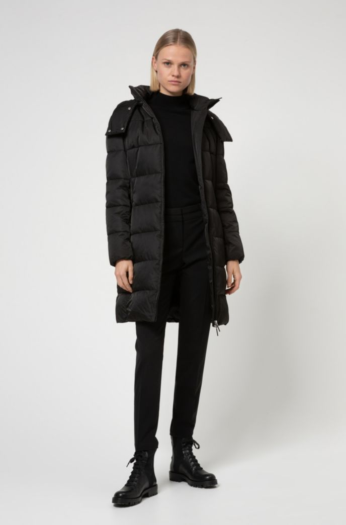 Baffle-quilted hooded jacket in water-repellent recycled fabric