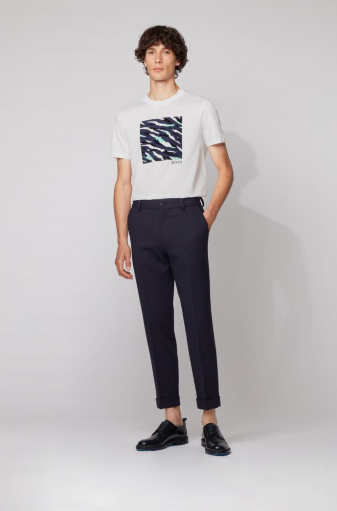 T-shirt van katoen met ronde hals en abstracte tijgerprint