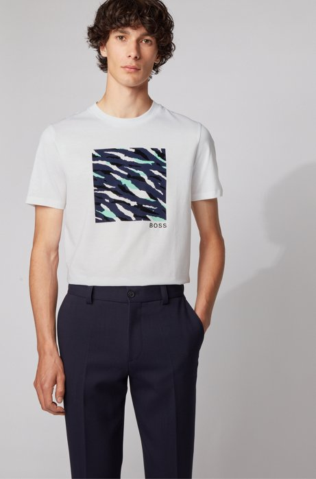 Crew-neck T-shirt in cotton with abstract tiger print, White