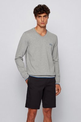 V-neck sweater in organic cotton with contrast details, Light Grey