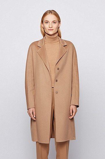 女士弹力正装大衣,  235_浅棕色