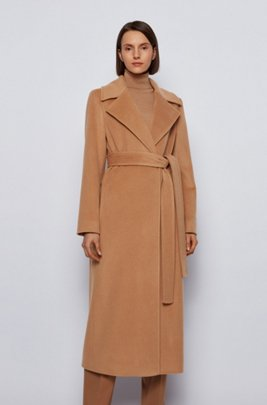 Relaxed-fit coat in recycled cashmere with wool, Light Brown