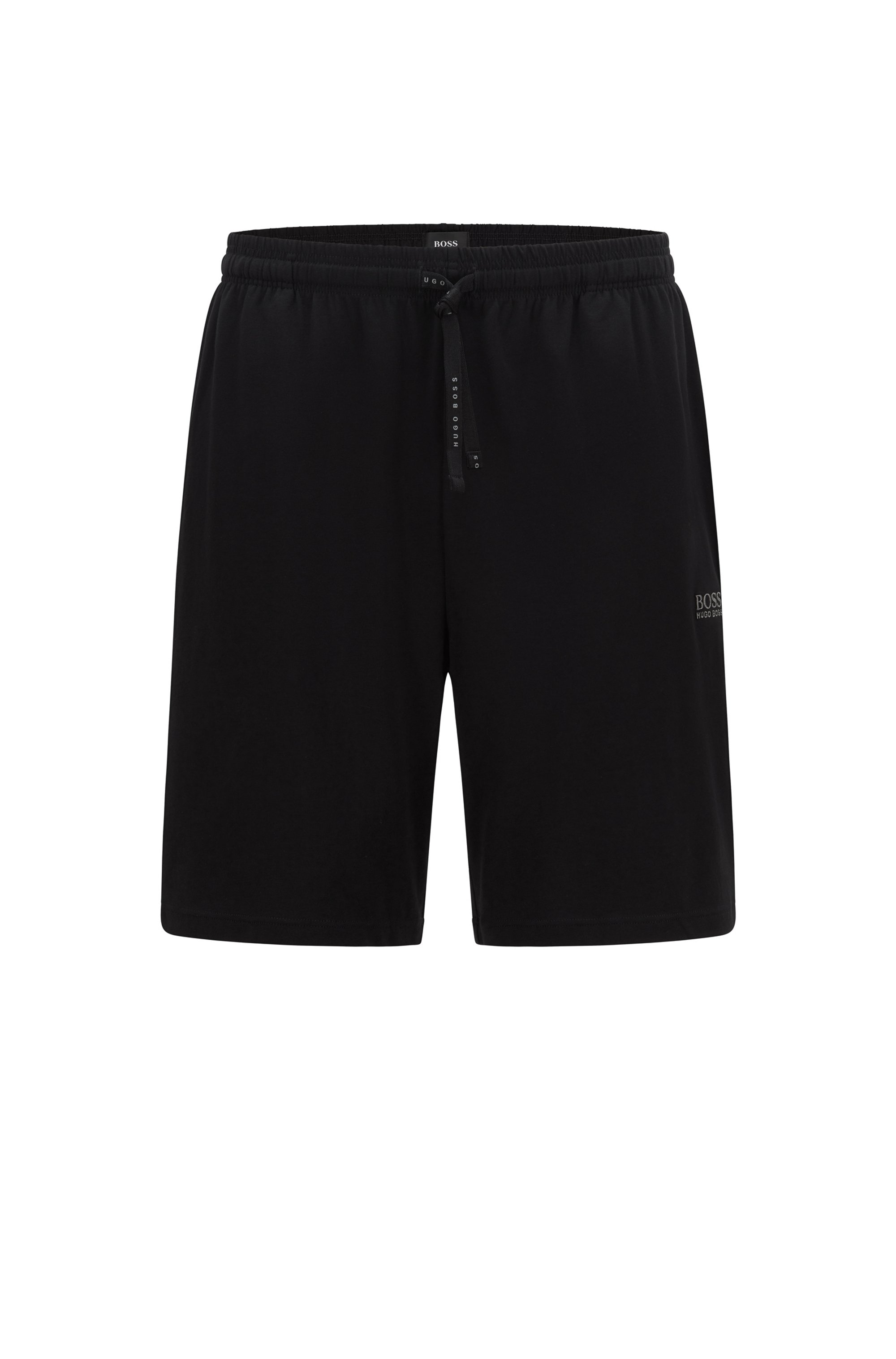 Loungewear shorts in stretch cotton with logo embroidery, Black