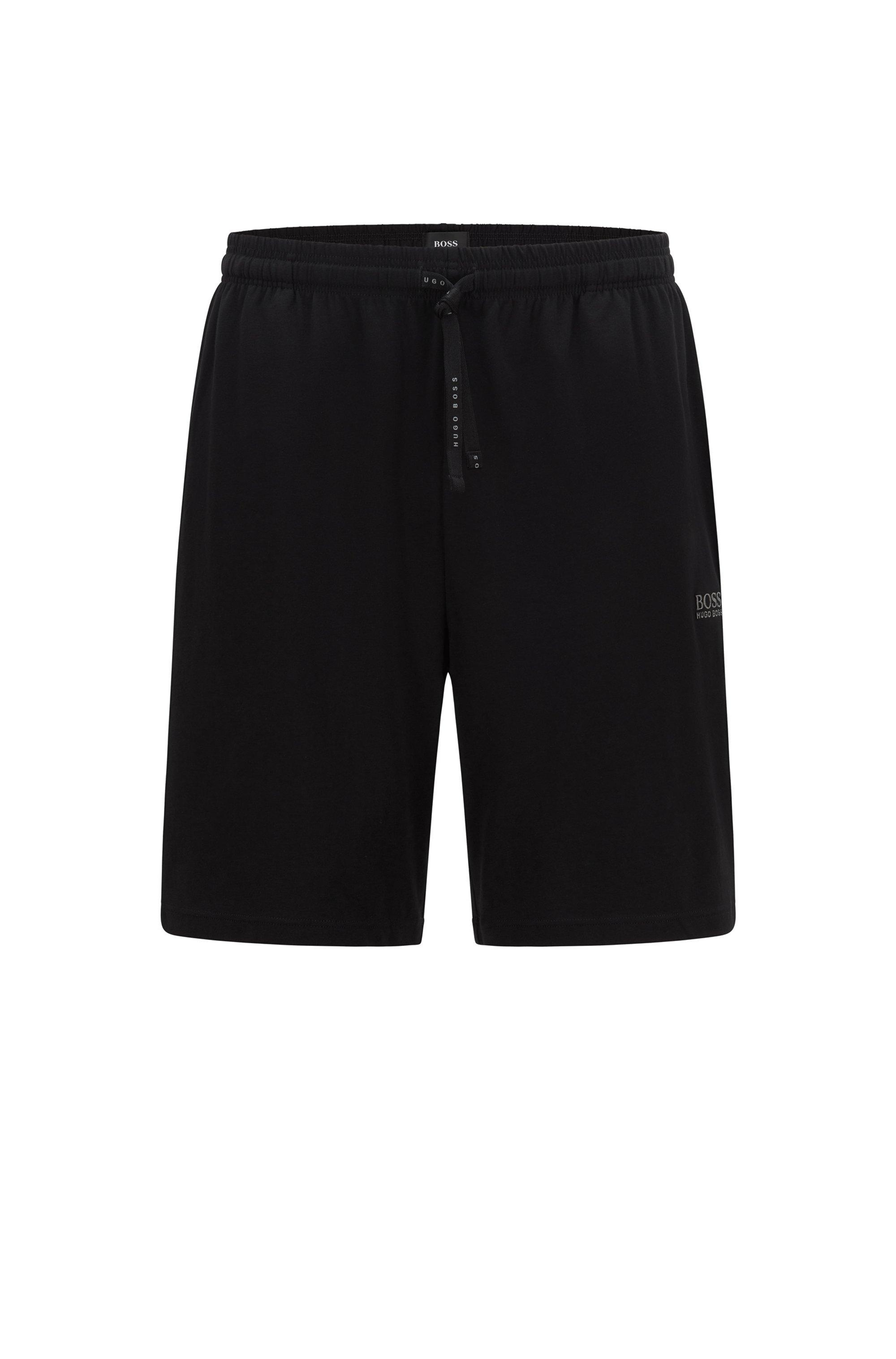 Loungewear-Shorts aus Stretch-Baumwolle mit Logo-Stickerei, Schwarz
