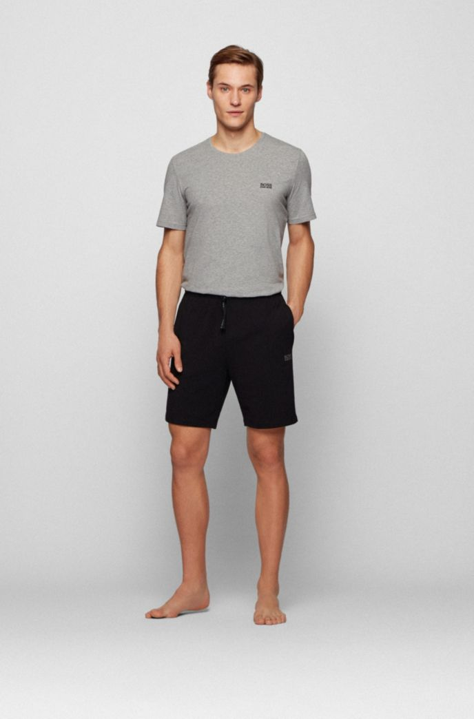 Loungewear shorts in stretch cotton with logo embroidery