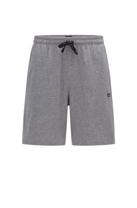 Loungewear shorts in stretch cotton with logo embroidery, Grey