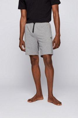 Loungewear-Shorts aus Stretch-Baumwolle mit Logo-Stickerei, Grau