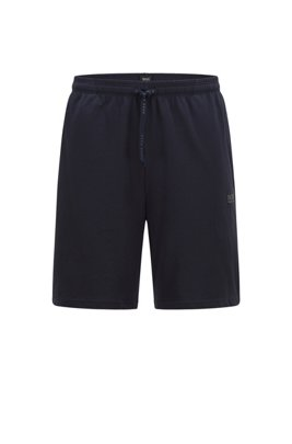 Loungewear shorts in stretch cotton with logo embroidery, Dark Blue