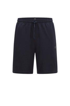 Loungewear-Shorts aus Stretch-Baumwolle mit Logo-Stickerei, Dunkelblau