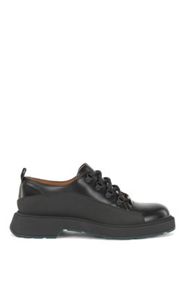 Hiking-inspired shoes in mixed leathers, Black