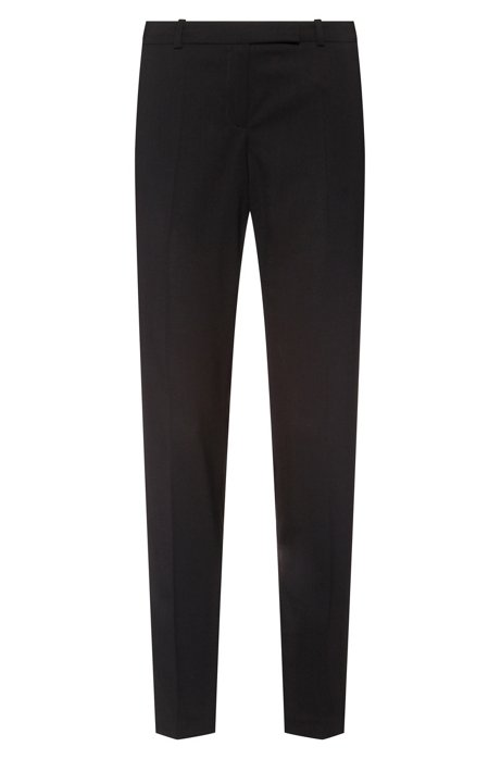 Regular-fit trousers in stretch wool, Black