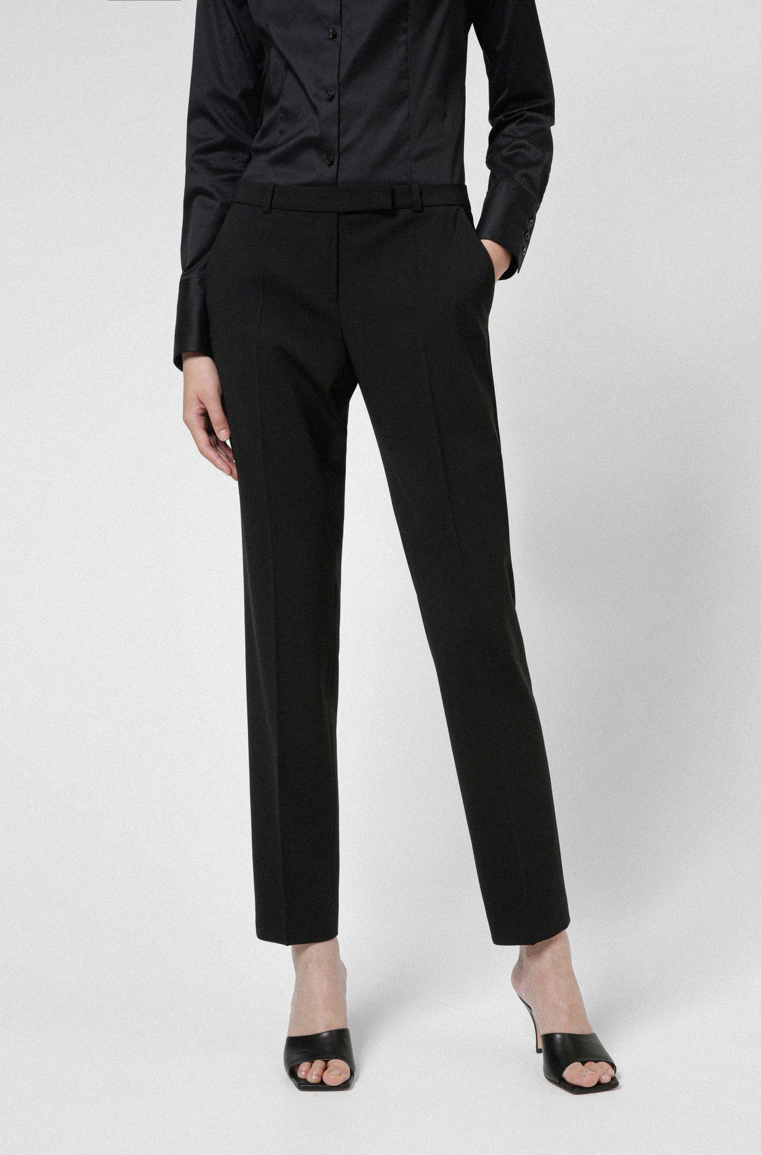 Slim-fit trousers in a virgin-wool blend, Black