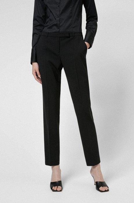 Slim-fit broek van een scheerwolmix, Zwart