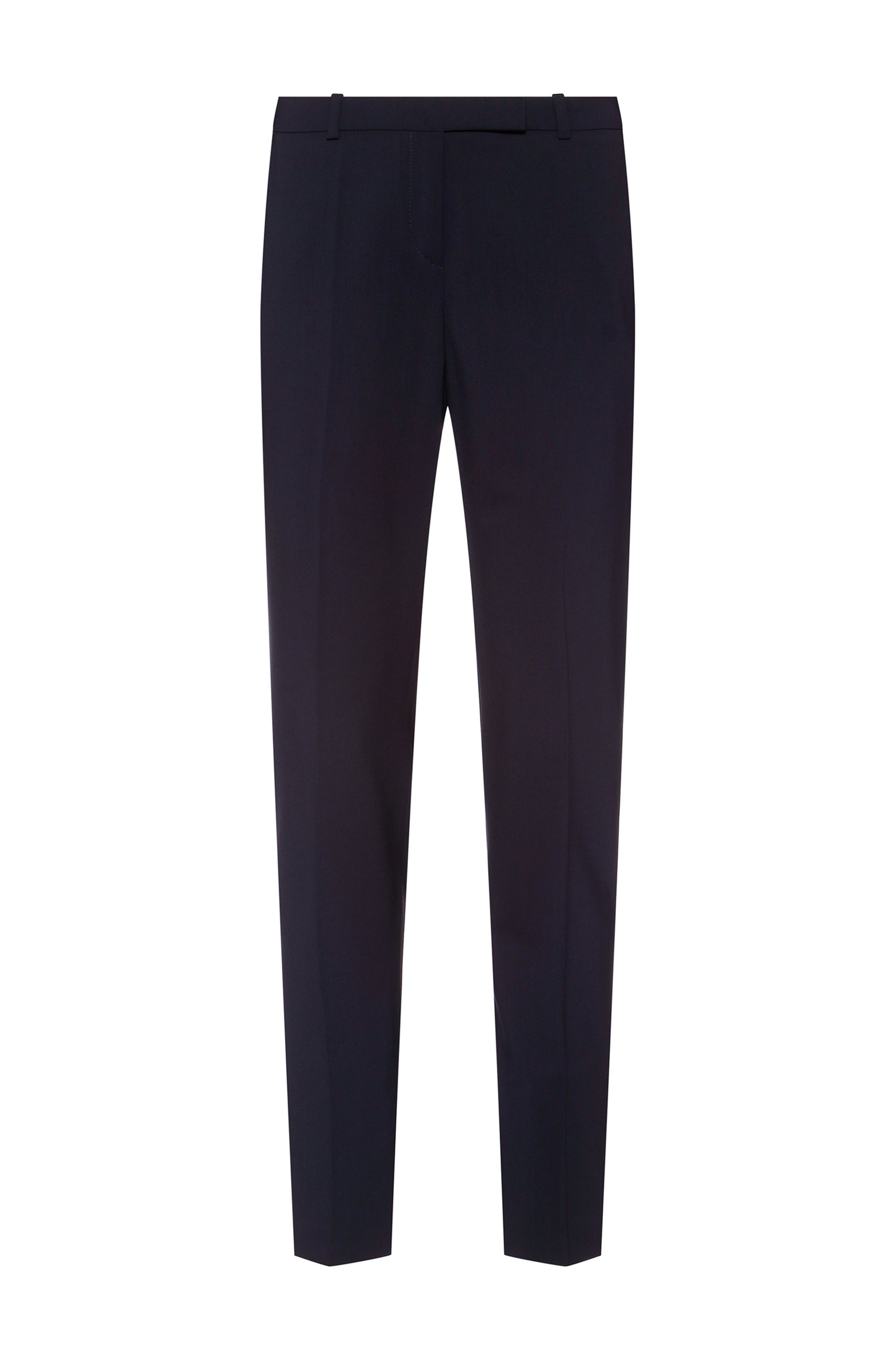 Slim-fit trousers in a virgin-wool blend, Dark Blue