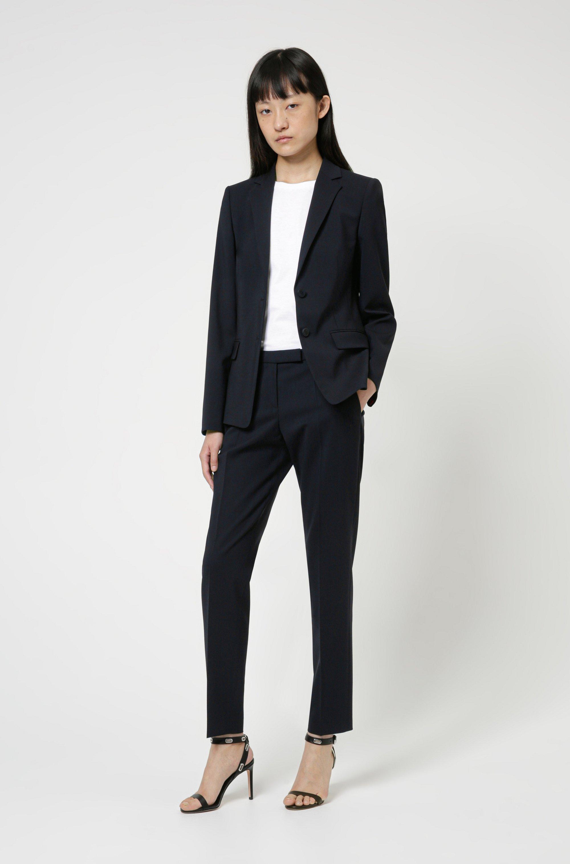 Slim-fit trousers in a virgin-wool blend