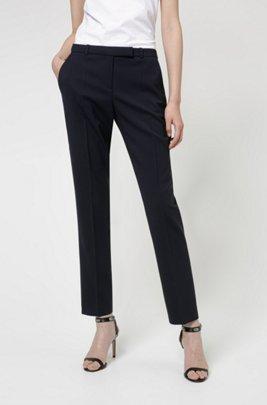 Slim-fit trousers in a virgin-wool blend, Dark Blue