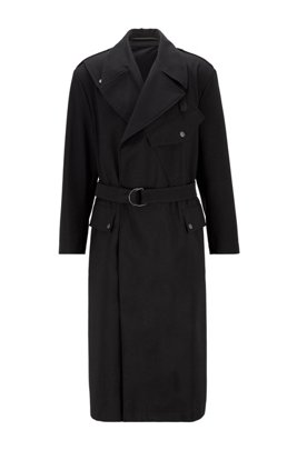 Relaxed-fit belted coat in a cotton blend, Black