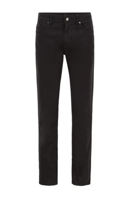 Slim-fit jeans in overdyed satin-touch stretch denim, Black