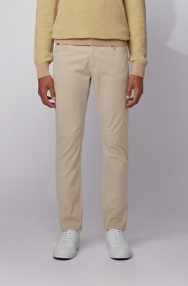 Slim-fit jeans in overdyed satin-touch stretch denim, Light Beige