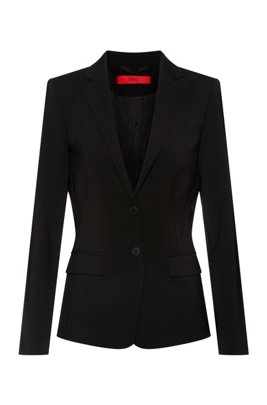 Regular-fit jacket in crease-resistant stretch virgin wool, Black