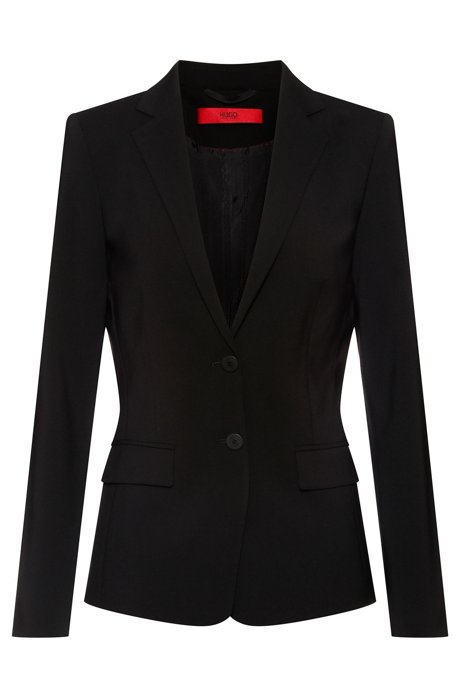Regular-fit jacket in stretch wool, Black