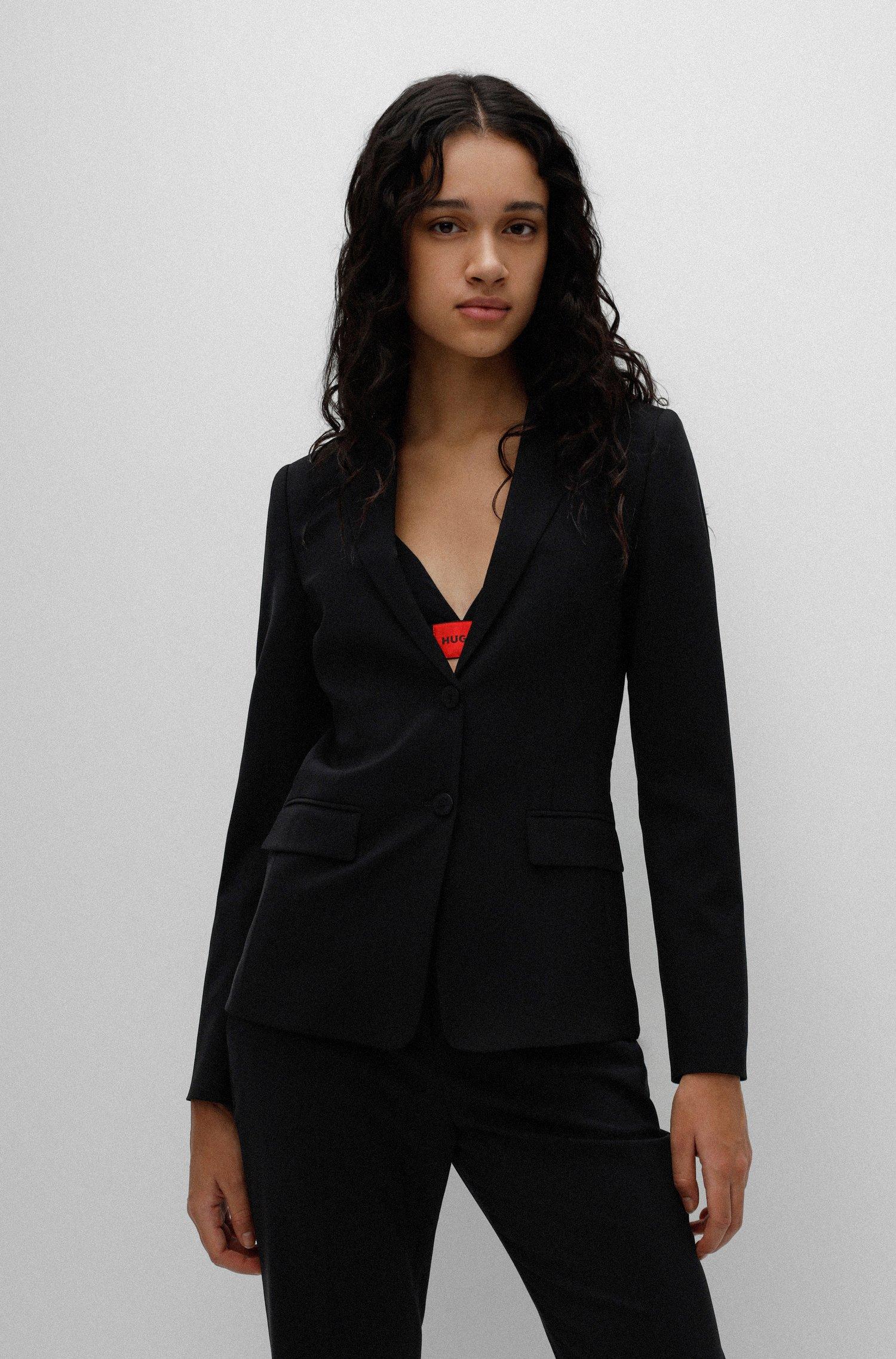 Regular-fit jacket in crease-resistant stretch virgin wool, Black