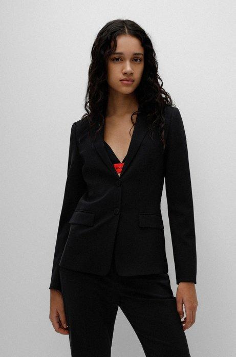Veste Regular Fit en laine stretch, Noir