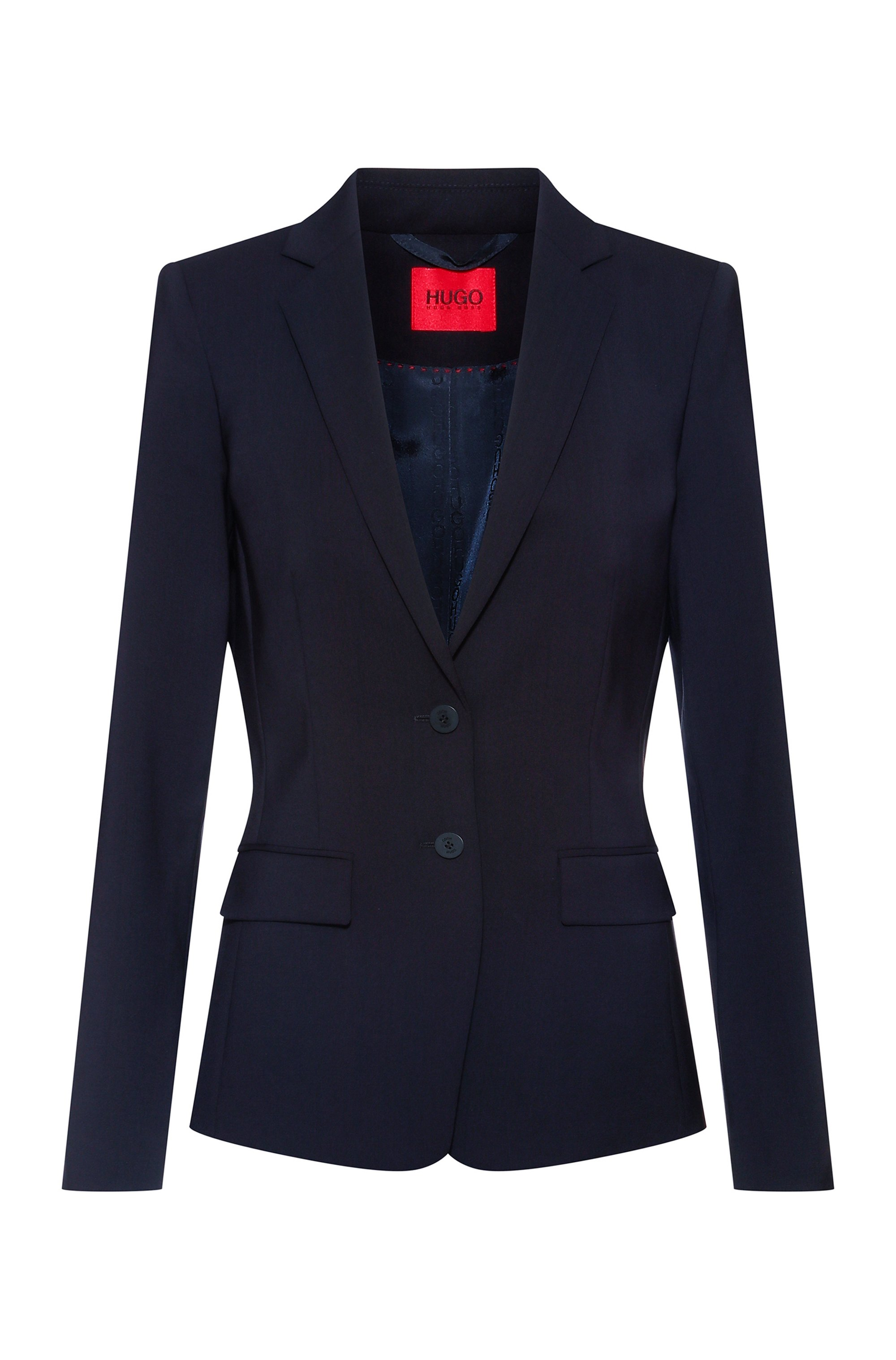 Regular-fit jacket in crease-resistant stretch virgin wool, Dark Blue