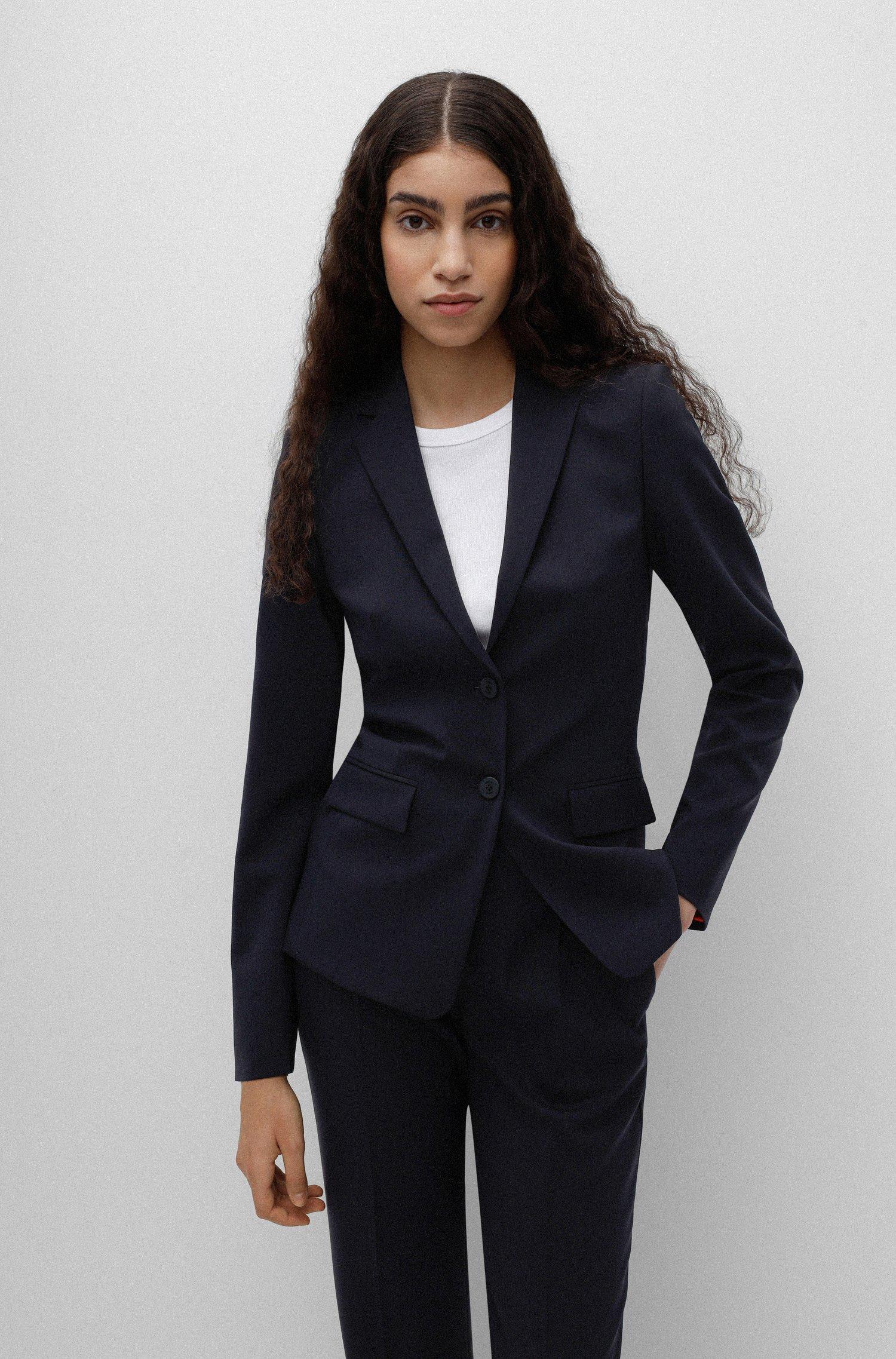 Regular-fit jacket in crease-resistant stretch virgin wool, Dark Blue