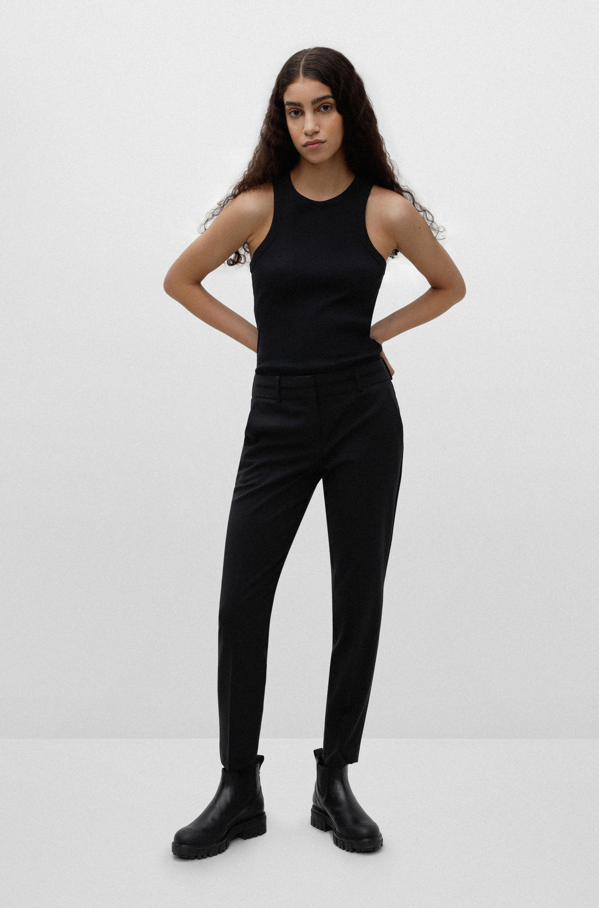 Slim-fit trousers in crease-resistant stretch virgin wool