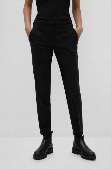 Pantaloni slim fit in lana vergine elasticizzata antipiega, Nero