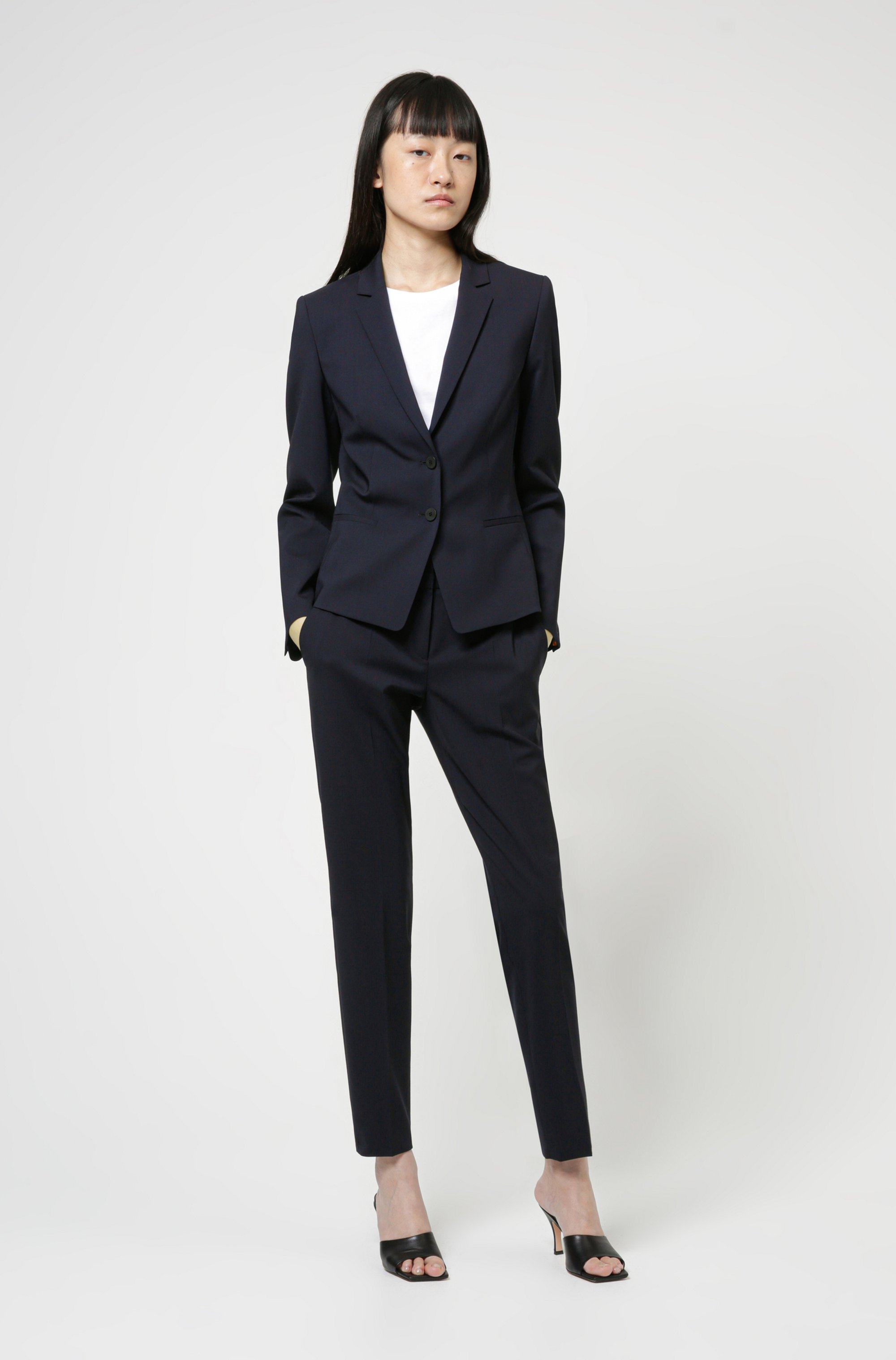 Slim-fit trousers in crease-resistant stretch virgin wool