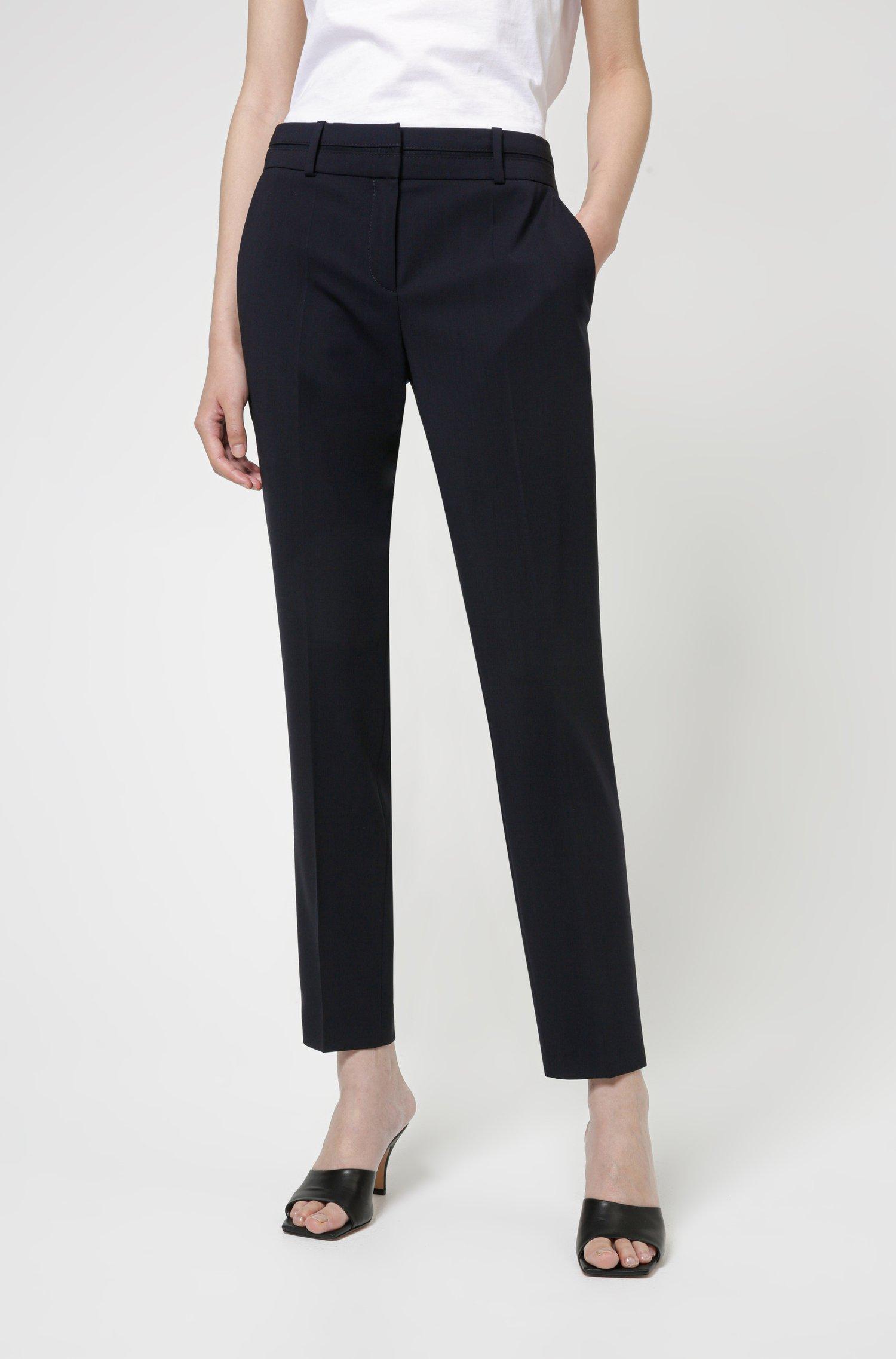 Slim-fit trousers in crease-resistant stretch virgin wool, Dark Blue