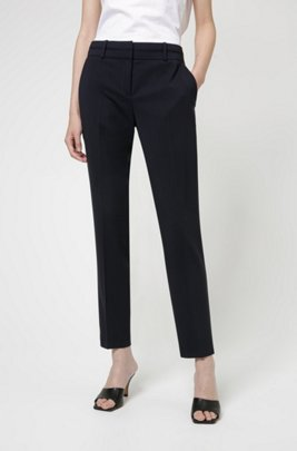 Slim-fit trousers in crease-resistant stretch virgin wool, Dark Blue