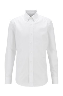 Button-down slim-fit shirt in micro-structured cotton, White